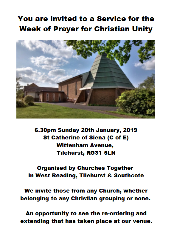 Week of Prayer for Christian Unity Service – 6:30pm Sunday 20th Jan